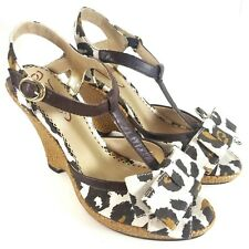 Poetic Licence Wedge Sandals Size 36.5 N Cheetah Print Bow High Heels Strappy