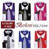Berlioni Italy Boys Two Tone Dress Shirts Kids Long Sleeve Tie & Hanky