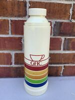 Vintage 1980s Thermos Vacuum Bottle Rainbow Striped Filler Stopper Cup