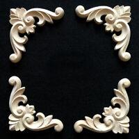 4x Holz Schnitzerei Verzierungen Holzornamente Holzzierteile Möbel Ornamente 6cm