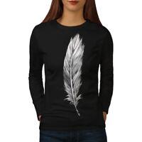 Wellcoda Elegant Feather Womens Long Sleeve T-shirt, Painting Casual Design