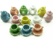 6/18 Coffee Cup Teapot Scallop Saucer Plate Dollhouse Miniature Ceramic #S 2337