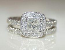 14k White Gold 2.42CT Halo Princess Diamond Wedding Engagement Bridal Ring SZ5.5
