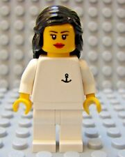 LEGO  Yacht Cruise Ship Girl Female Minifig Crew Member Long Brown Hair