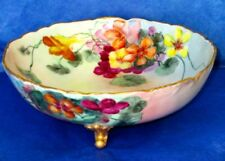 LIMOGES France Antique Hand Painted Nasturtiums Porcelain Large Footed Bowl