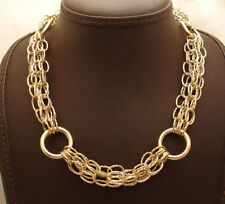 Bold Diamond Cut Multi Oval Circle Link Chain Necklace Real 14K Yellow Gold QVC