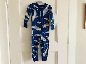 Hanna Andersson Sleeper 85 CM 2T Organic Cotton PJs Blue Sharks EUC