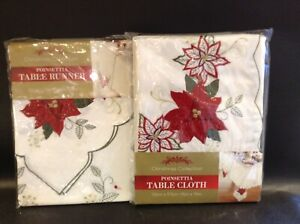 Christmas Collection Poinsettia Tablecloth & Table Runner 52 x 70 - 12 x 70 inch