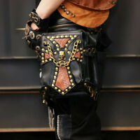 Mens Steampunk Gothic Punk Pack Womens Waist Leg Biker Gothic Shoulder Bag Coin