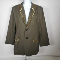 Audrey 3+1 Olive Green Womens M Studded Blazer Jacket Lined NWT