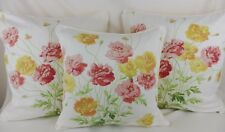 Laura Ashley Poppies Poppy Fabric Pillow Cushion Cover Yellow Floral Shabby Chic