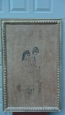 ABSTRACT GERMAN INK PAINTING OF DREAMING YOUNG GIRLS, TEXTURE PAPER,GIRLS FRAME