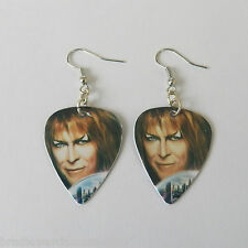 DAVID BOWIE guitar pick plectrum pick SILVER PLATED EARRINGS labyrinth