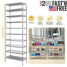 10 Tiers Metal Shoe Rack Organizer Cabinet Shelf Stand Wall Closet Storage Us