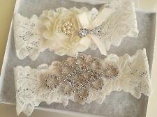 Wedding garter, Bridal Garter Set - CRYSTAL OFF WHITE IVORY Wedding Garter Set