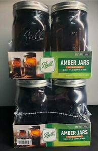 2X Ball Wide Mouth QUART Anti UV Canning Mason Jar Amber Glass 32oz 8 Total JARS