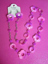 PINK MOTHER OF PEARL SHELL FLOWER NECKLACE SET