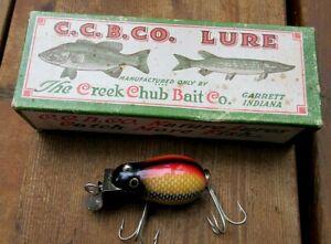 VINTAGE CREEK CHUB TINY TIM IN WHITE SCALE FISHING LURE IN ORIGINAL 6425 BOX