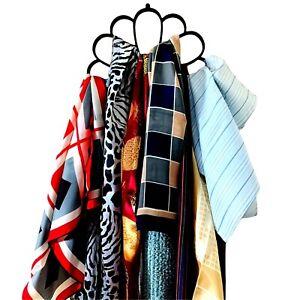 Belt & Scarf Hanger Brown Flocked Closet Space Saver Non Slip Storage Organizer