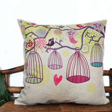 Vintage Retro Cotton Linen Cushion Cover Throw Pillow Case Bird Cage 45x45cm
