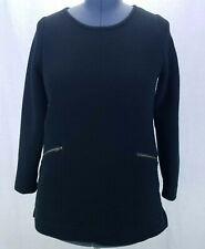 Merona Womens M Sweatshirt Black Long Sleeve Scoop Neck Zipper Pockets Stretch