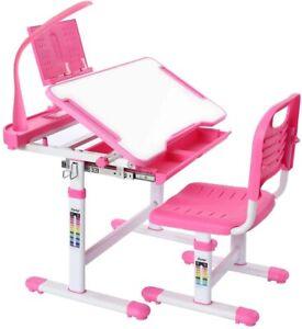 Ergonomic Kids Desk Chair Set W/ Lamp Height Adjustable Girls & Boys Study Table
