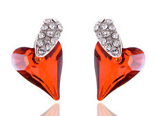 Silver-Tone Ruby Red Passionate Lovers Heart Crystal Element Earrings New