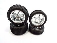 NEW TRAXXAS BANDIT COMPLETE SET OF ALIAS TIRES AND CHROME TRACER WHEELS XL-5 VXL
