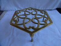 Art Deco Brass Octagonal Kettle/Pot Trivet Height 8 cm x 18 cm