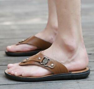 Summer PU Leather Sandals Men's Flats Flip Flops Slip On Casual Beach Slippers