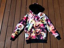 Burton Chuck Anderson Fur Lined Neon Light Camo Jacket Coat Mens M snowboard
