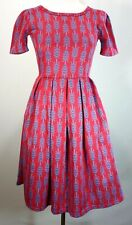 Lularoe Xxs Amelia Red Dress Pockets Fit Flare Stretch Blue Print Pleats Zipper