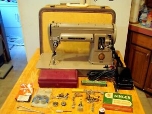 Vtg SINGER 301 Sewing Machine Short Bed Heavy Duty Gear Drive Serviced Works