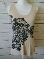 Cache Sleeveless Knit Tank Top Size Small Tan With Black Flower Design