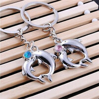 1Pair Hot Metal Dolphin Key Ring Keyfob Couples Romantic Keychain Lover GifEBAU