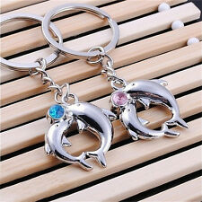 1Pair Hot Metal Dolphin Key Ring Keyfob Couples Romantic Keychain Lover Gift ZXC