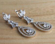 Solid 925 Sterling Silver Stylish CZ Dangle/Drop  Earrings Bridal Jewellery