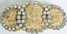 Beautiful Vintage Or Antique Snap-On Lace Crochet Jeweled Rs Dress Pin Brooch