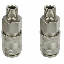 Euro Air Line Hose Connector Fitting Female Quick Release 1/4 inch BSP Male 2p