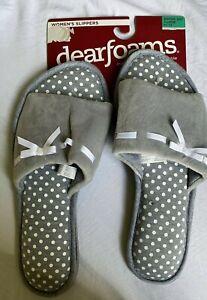 Dearfoams XLarge 11-12 Slippers Memory Foam gray polka dot New gift