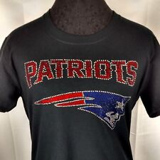 Women's New England Patriots Rhinestone Football V-neck T-Shirt Tee Bling Lady