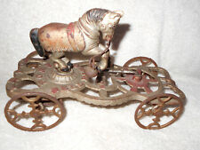 Gong Bell 1910's Trick Pony Bell Ringer Cast Iron Bell Toy w/ Ornate Wheels C@@L