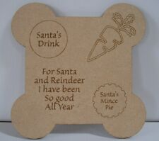 Santa Treat Plate/ Plaque Christmas Eve Treat Plaque MDF Christmas Gift