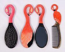 Hand Painted Art Hair Brush Mirror Comb Red Pink Flamingo Bird (Set of 3) 49F