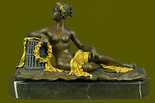 Art Deco Egyptian Princess Naked Nude Gold Patina Bronze Sculpture Statue Figure