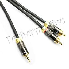 3.5mm Aux Jack to 2 RCA Stereo Audio Y-Splitter Cable Cord Premium Metal Housing
