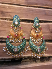 Meenakari Kundan Pearl Earrrings / Bollywood Jewelry-2