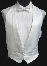 Boys Cadet White Satin Open Back Tuxedo Vest Jacket Size 10-16 Men's 34-36