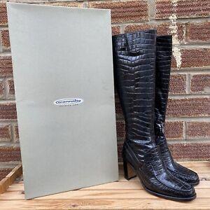 BNWB Patrick Cox Wannabe Moc Croc Boots Knee High EU 38.5