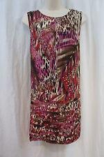 S.L. Fashions Dress Sz 14 Multi Color Printed Scoop Neck Shutter Bottom Shift